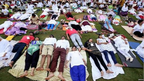 Public yoga gathering
