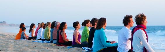 Group meditation ocean