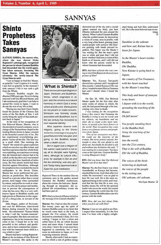 Ishida article in Rajneesh Times