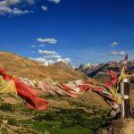 Prayer Flags fluttering over Dhankar Monastery