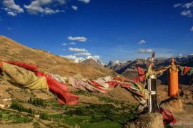 Prayer Flags fluttering over Dhankar Monastery