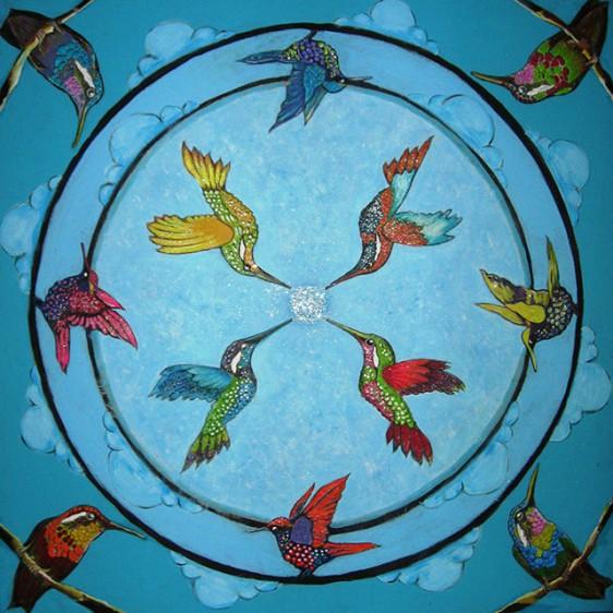 Les Oiseaux du Bonheur, 100x100 cm, 2015