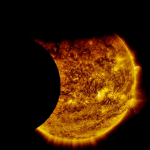 Moon and Earth eclipse Sun