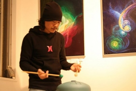 Sandesh playing for an exhibition