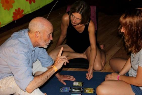 Subhuti laying Tarot cards
