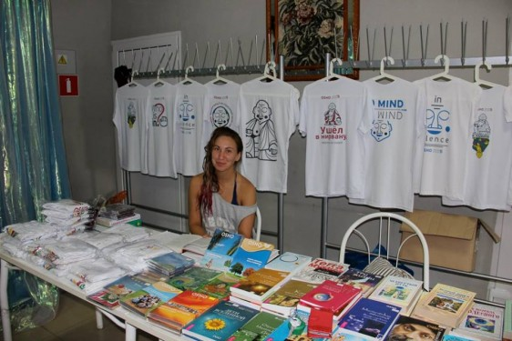 book and T-shirt stall