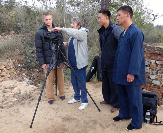 Panky filming at the kungfu school
