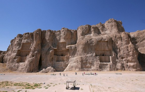 Naqsh-e Rustam, the huge tombs of four Achæmenid kings, hewn into the rock