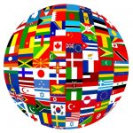Earth covered with flags