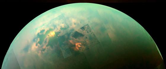 Sun glinting off Titan