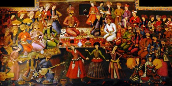 Shah Abbas I receiving Vali Nadr Muhammad Khan - music and dance were highly developed and popular art forms