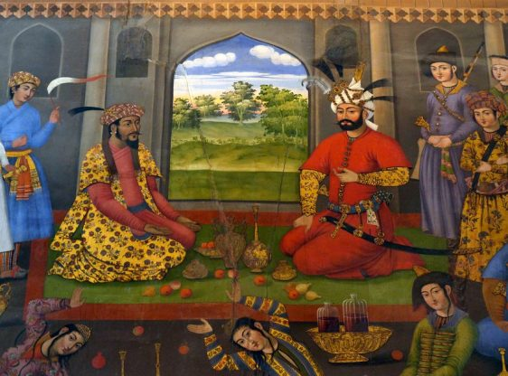 Shah Tahmasb receives Moghul emperor Humayun - Humayun, the second Moghul emperor in India, had to escape temporarily from his enemies in India, but reconquered his empire with the Shah's help later