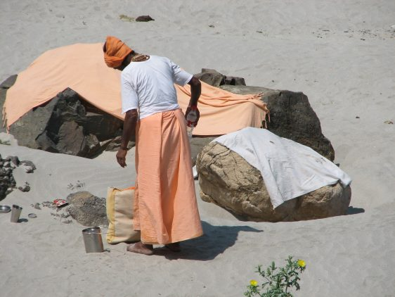 Sadhu and simple shelter