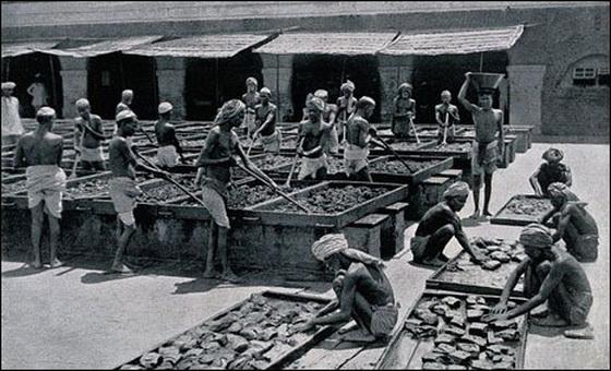Indians processing opium