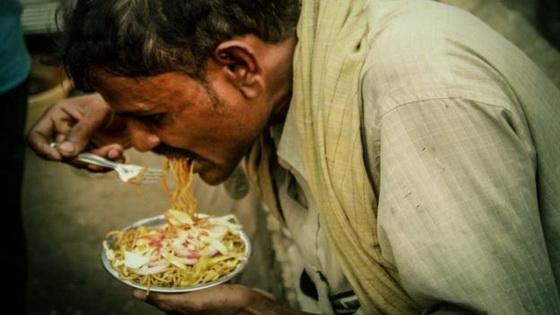 Man eating