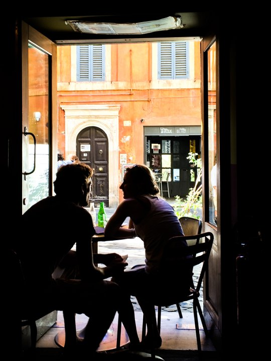 Conversation: Piazza del Fico, Rome, Italy - These two captured the moment and symbolized café life in Rome.
