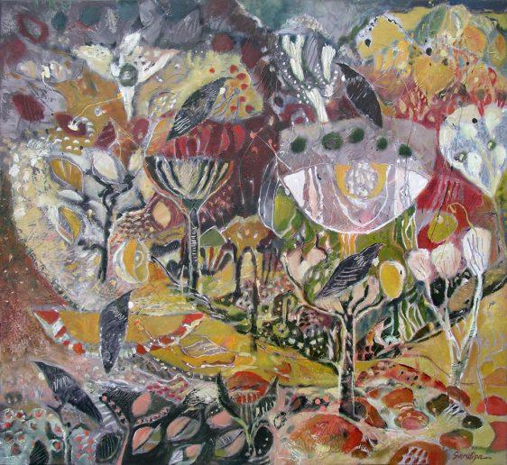 Kowhai: Falling Petal, 112 x 122 cm