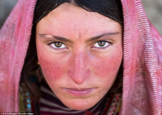Wakhi nomad woman in a pink headscarf