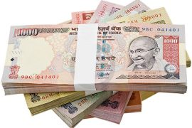 bundle of Indian rupees