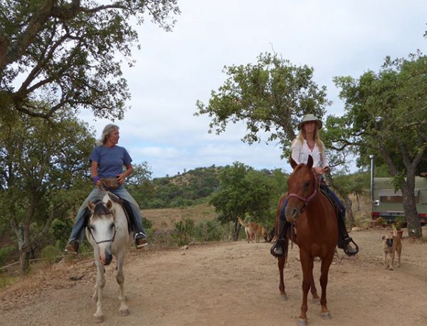 Two old cowgirls, still riding the range after all these years (with Zena)