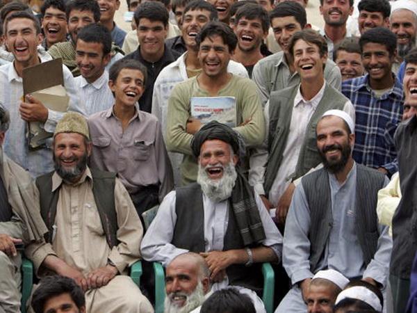 Afghan men laughing