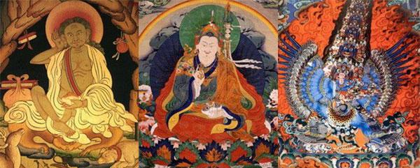 Milarepa, Padmasambhava, a Tibetan tanka