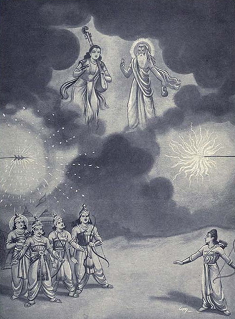 Arjuna and Ashwatthama unleash their Brahmastras against each other, as Vyasa and Narada arrive to stop the collision.