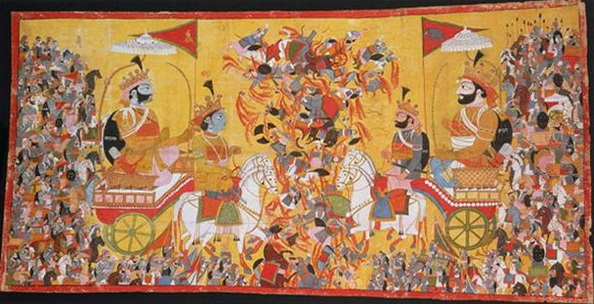 The painting depicts the battle of Kurukshetra of the Mahabharata epic.