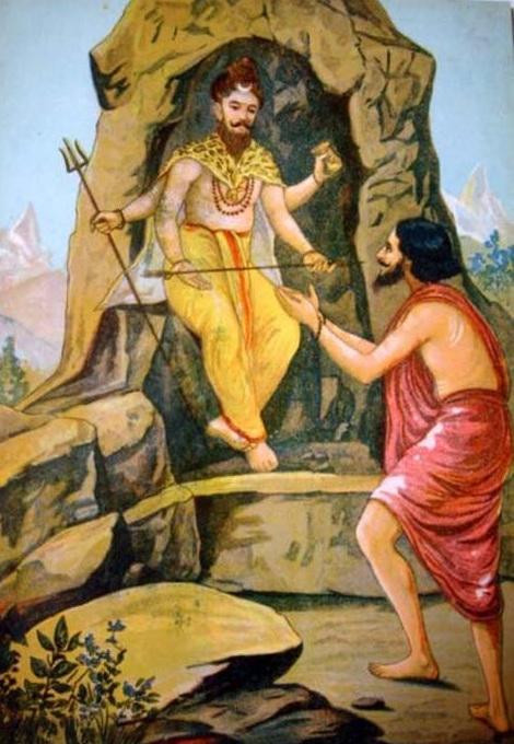 Shiva gives the Pashupatastra to Arjuna.