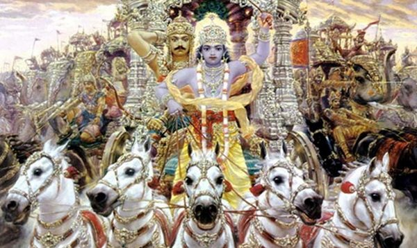 Krishna driving a chariot with Arjuna behind in the Mahabharata