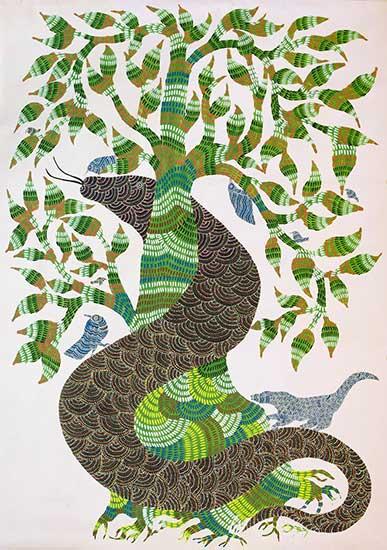 Jangarh-Singh-Shyam-Snake-and-Pipal-tree