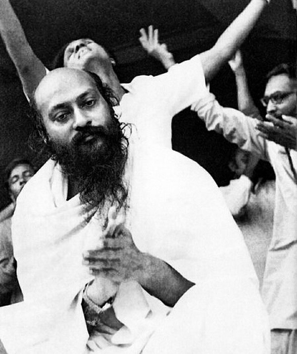 photo of Osho taken during a meditation camp