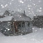 hut in blizzard