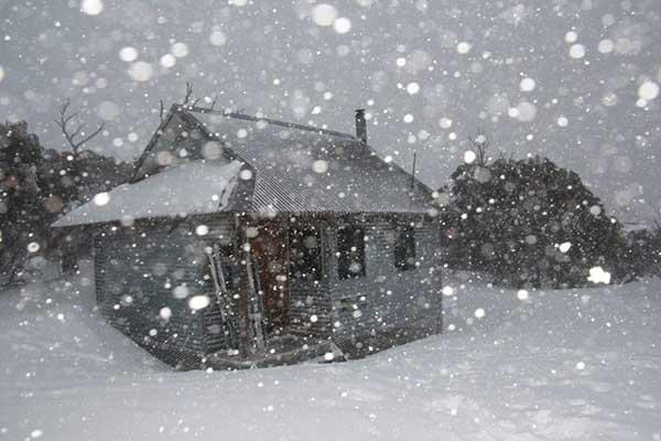 hut in blizzard
