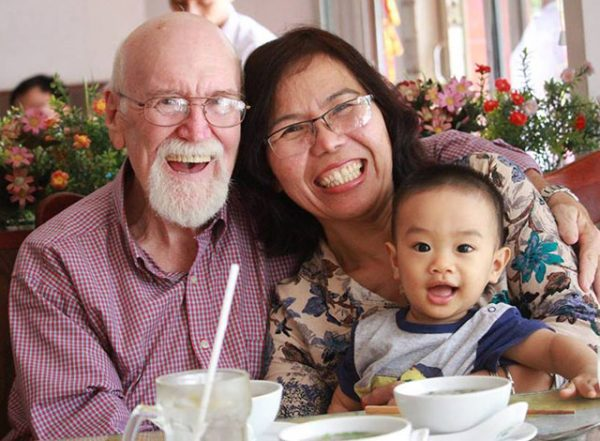 With wife Lan and grandson