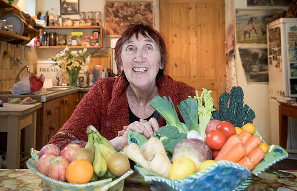 Michele Hanson with some root vegetables