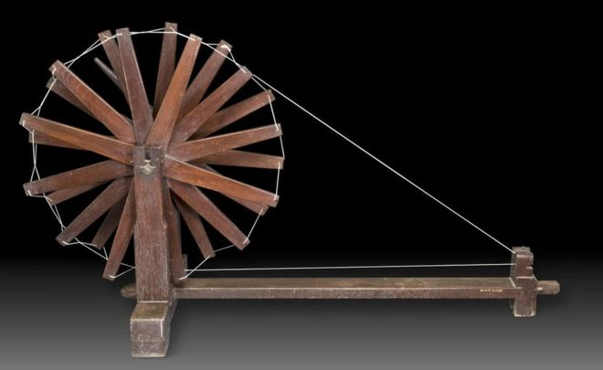 Wooden charkha spinning wheel