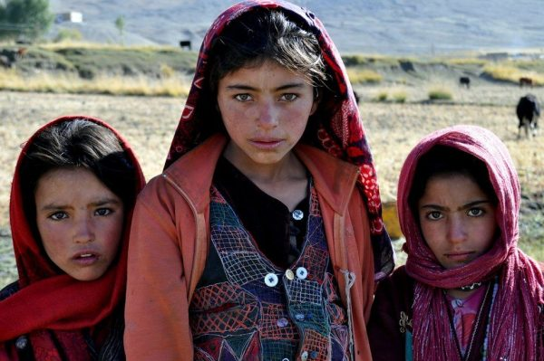 I stopped these three girls on their way to school in the village of Sarhad-e Broghil. Aged between 10 and 14, they help their families with farm work after school. Compared with other parts of Afghanistan, women in Wakhan enjoy greater freedoms. They can take part in public celebrations and social events and wear colourful clothes, and they are the main workforce.