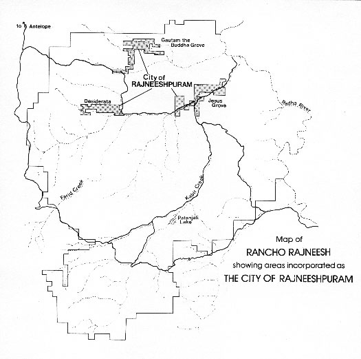Rajneeshpuram map