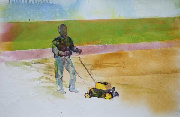 The Lawnmower, 70 x 45 cm, Acrylic and oil