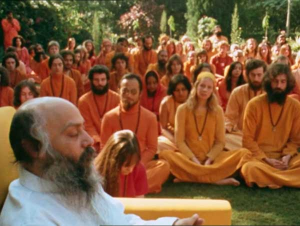 satsang on the lawn with Osho
