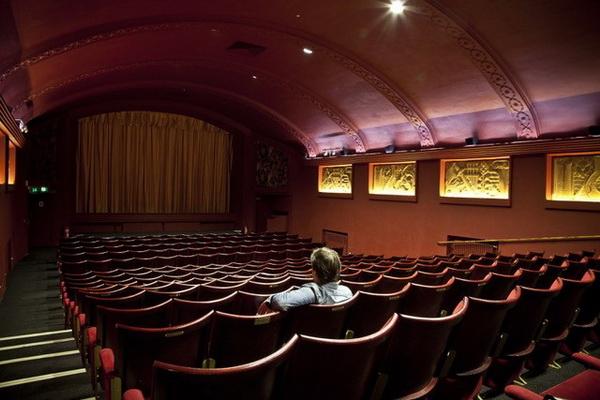 Man alone in cinema