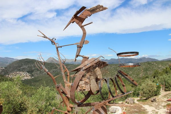 Sculpture made with old farming tools