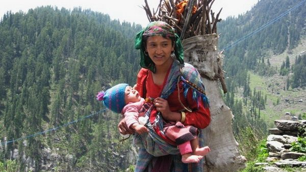 Malana woman and child