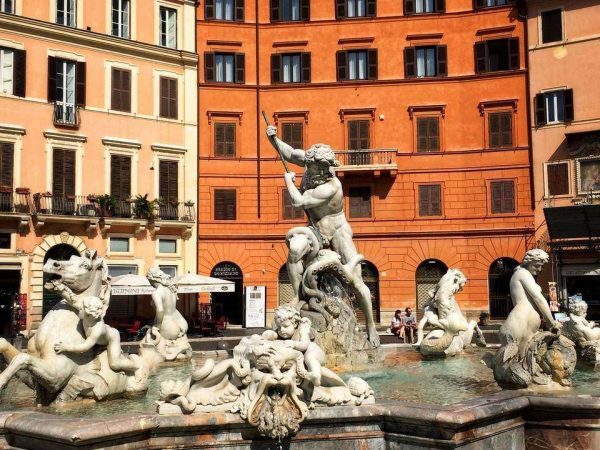 Bernini's Fountain of Neptune in Piazza Navona