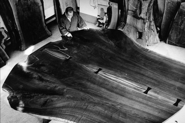Nakashima with first piece for altar in New York
