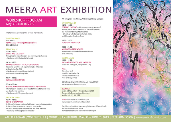 Flyer for Meera's Exhibition and Workshop