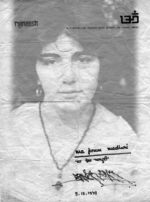 Madhuri's sannyas certificate
