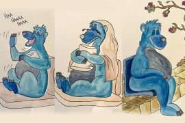 bears laughing, crying and sitting silently