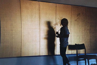 Painting my first gold leaf screen, 1998